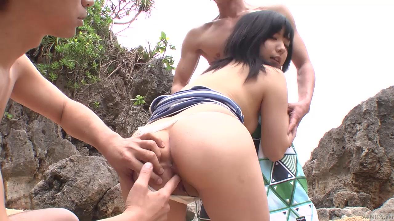 Subtitled uncensored JAV threesome at the beach. Big Tits porn clips