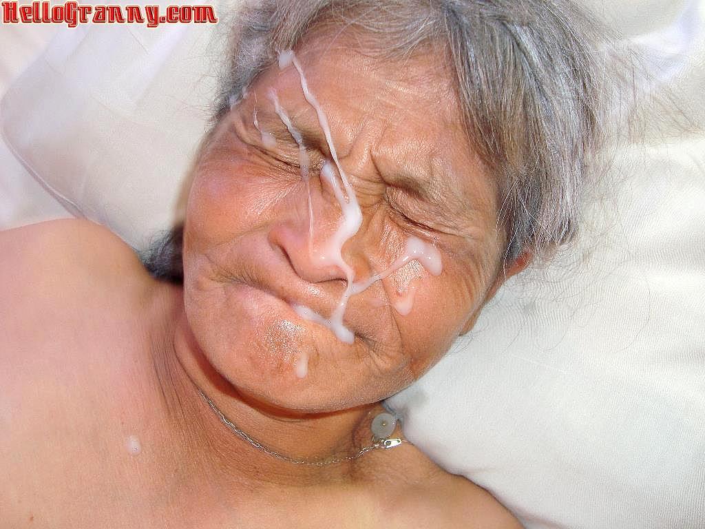 Cum over grannys face